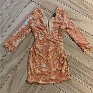 Nasty Gal Dresses - Nasty Gal Vanna Dress PEACH sequin Deep V!